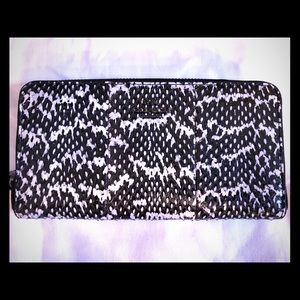 Coach snakeskin accordion zip wallet